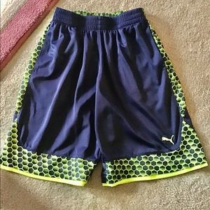 Puma boys shorts size L navy and lime green